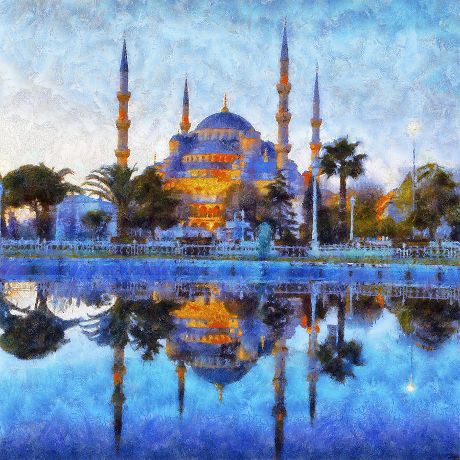 Istanbul Blue Mosque Painting By Lilia D