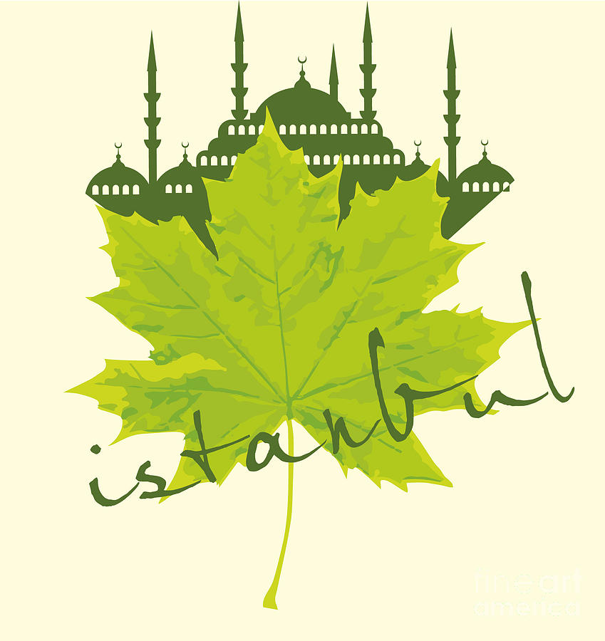 Capital Digital Art - Istanbul City And Sycamore Leaf Vector by A1vector