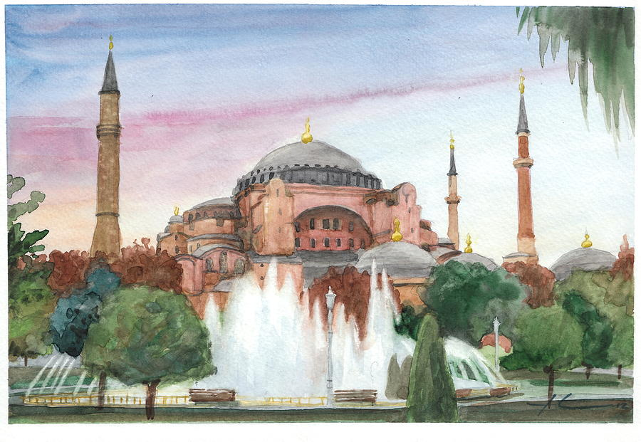 Istanbul Mosque Watercolor Painting Drawing by Mike Theuer