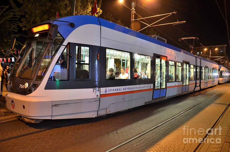 Travel Photograph - Istanbul Tram At Night by Imran Ahmed