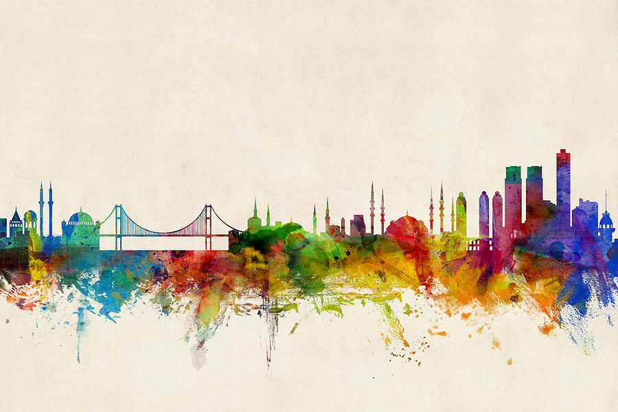 Istanbul Turkey Skyline Digital Art by Michael Tompsett