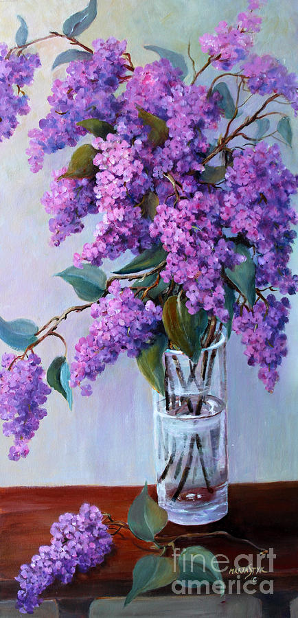 Flowers Painting - It Is Lilac Time by Marta Styk