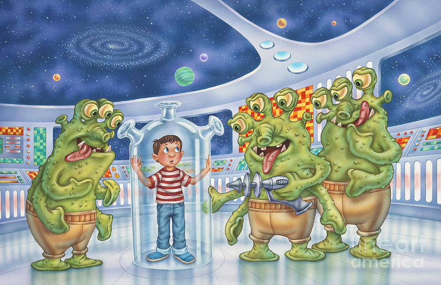 Aliens Painting - It Really Happened by Phil Wilson