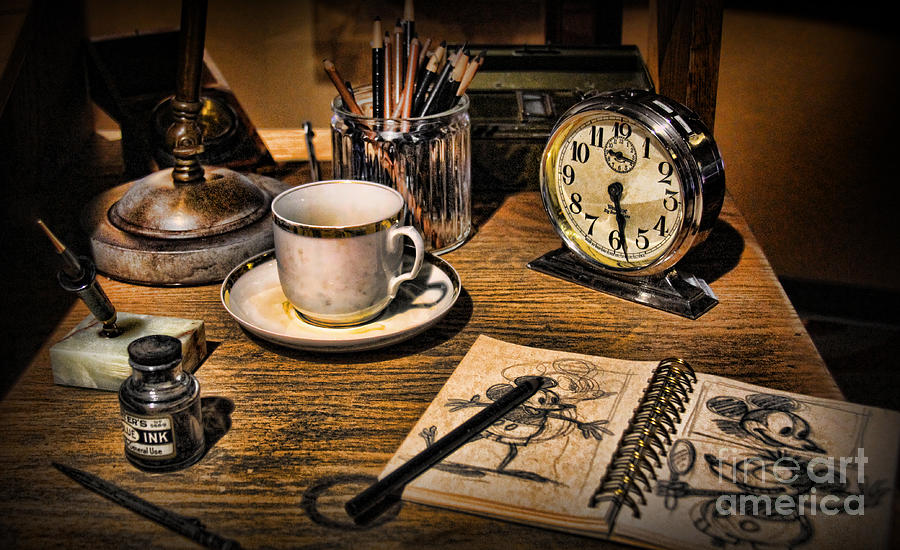 Sketch Photograph - It Was All Started By A Mouse - Walt Disneys Desk by Lee Dos Santos