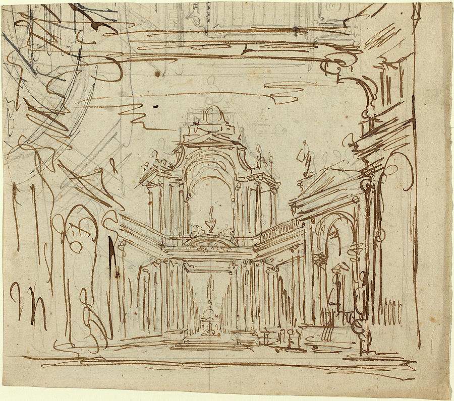 Italian 18th Century Stage Design Drawing By Quint Lox