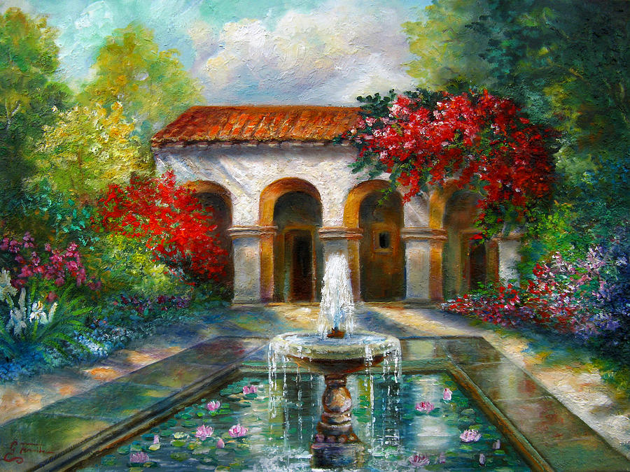 Italian Landscape Painting - Italian Abbey Garden Scene With Fountain by Regina Femrite