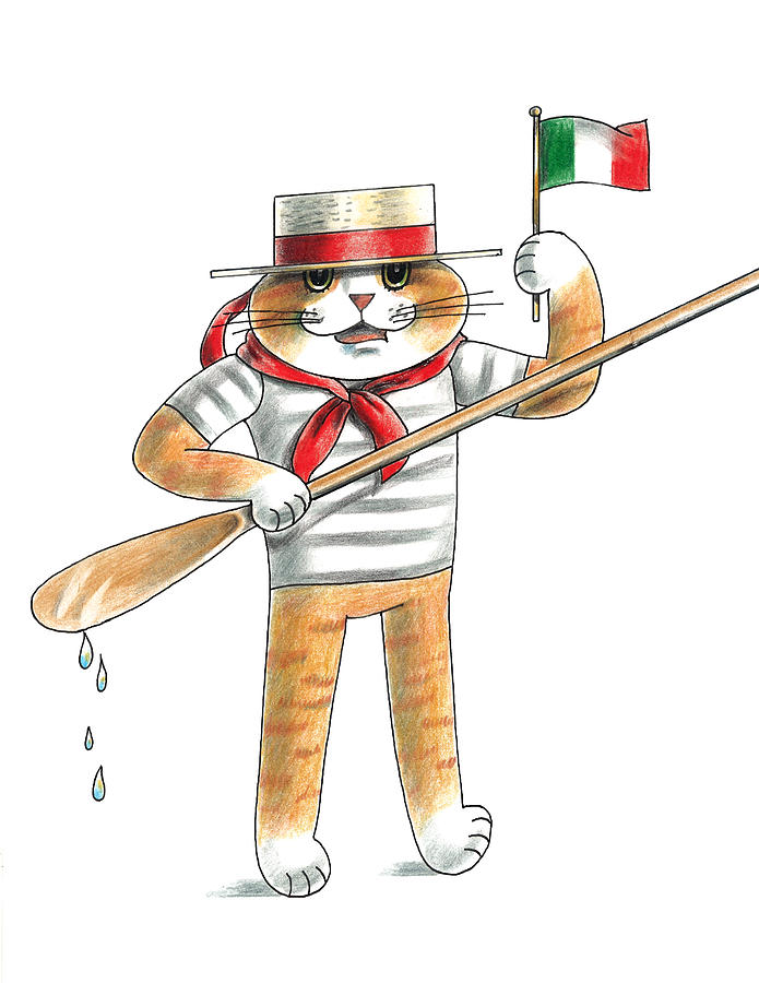 Cat Drawing - Italian Cat by Louise McClain Reeves