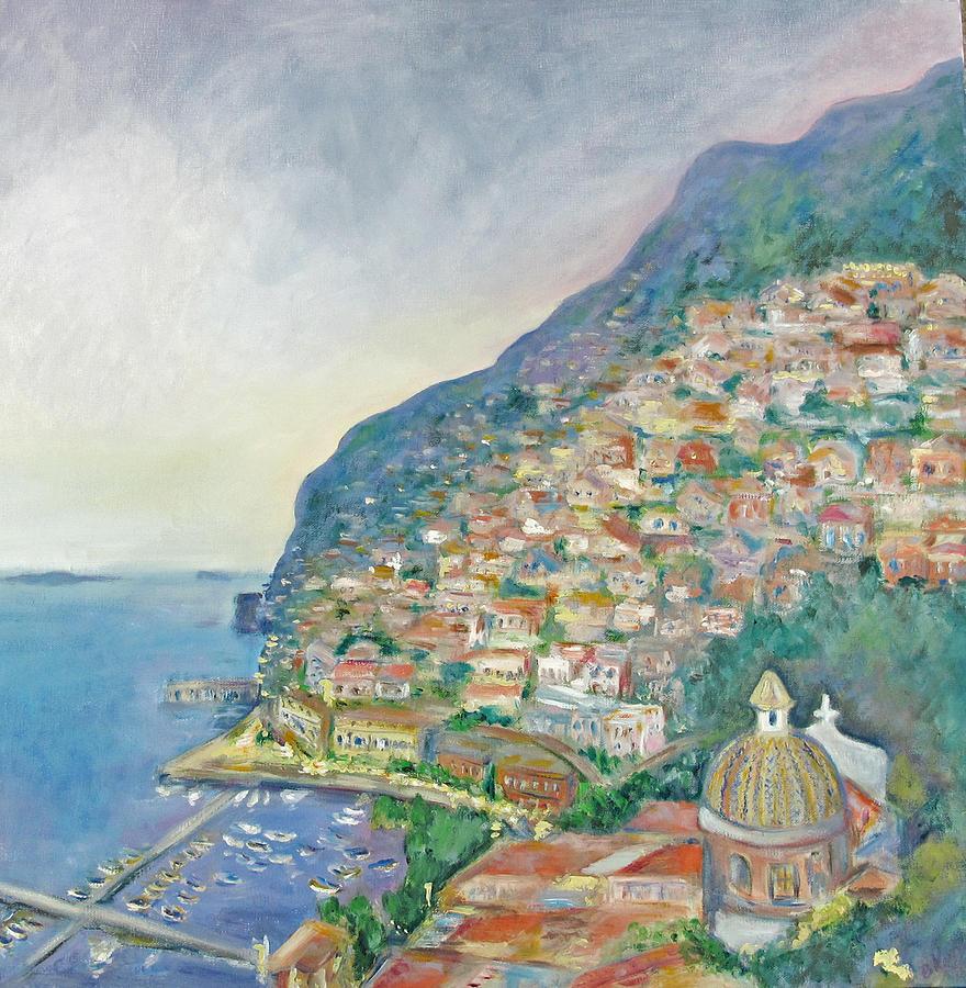Italian Landscape Painting - Italian Coast At Dusk by Barbara Anna Knauf