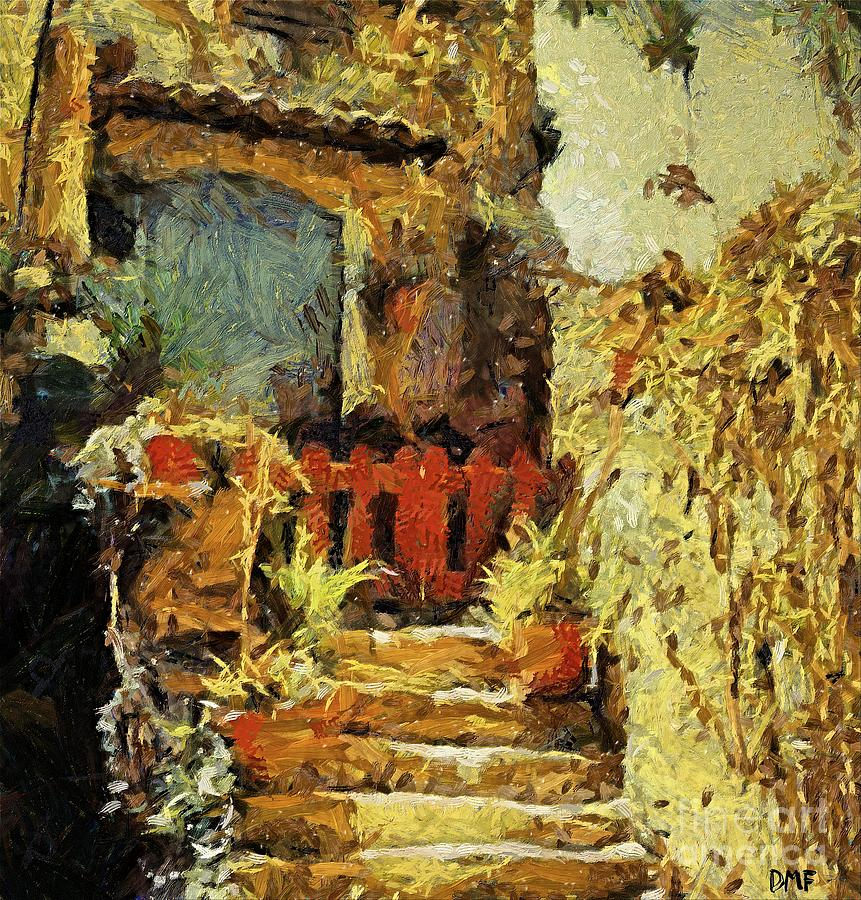 Landscapes Painting - Italian Courtyard by Dragica  Micki Fortuna