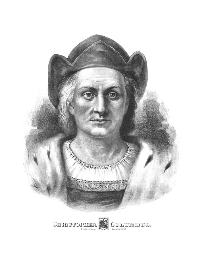Christopher Columbus Drawing - Italian Explorer Christopher Columbus by War Is Hell Store