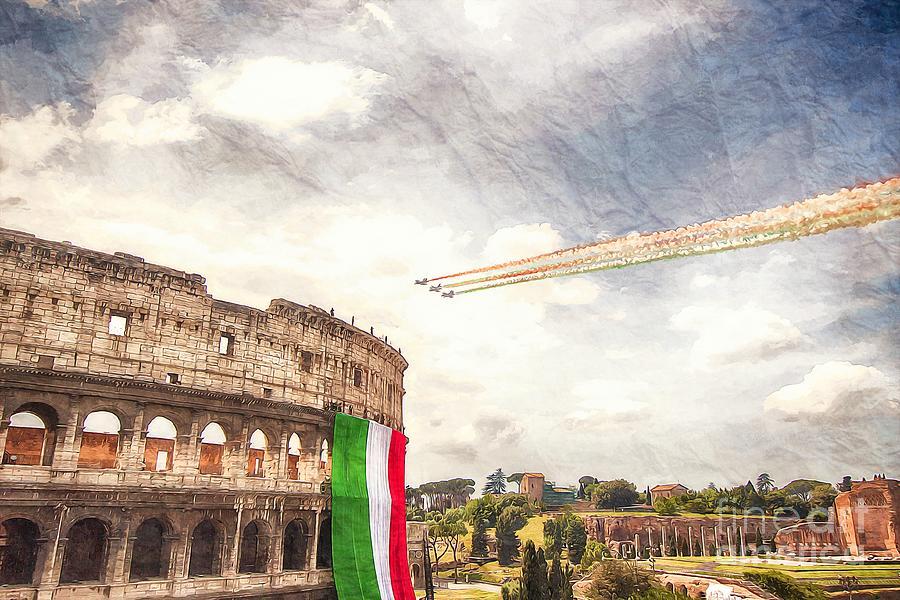 Rome Digital Art - Italian flag in Rome by Stefano Senise