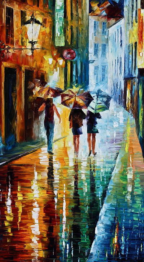 Woman Painting - Italian Rain by Leonid Afremov