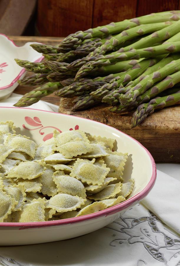 Italian Ravioli Pasta With Asparagus Photograph by Buena Vista Images