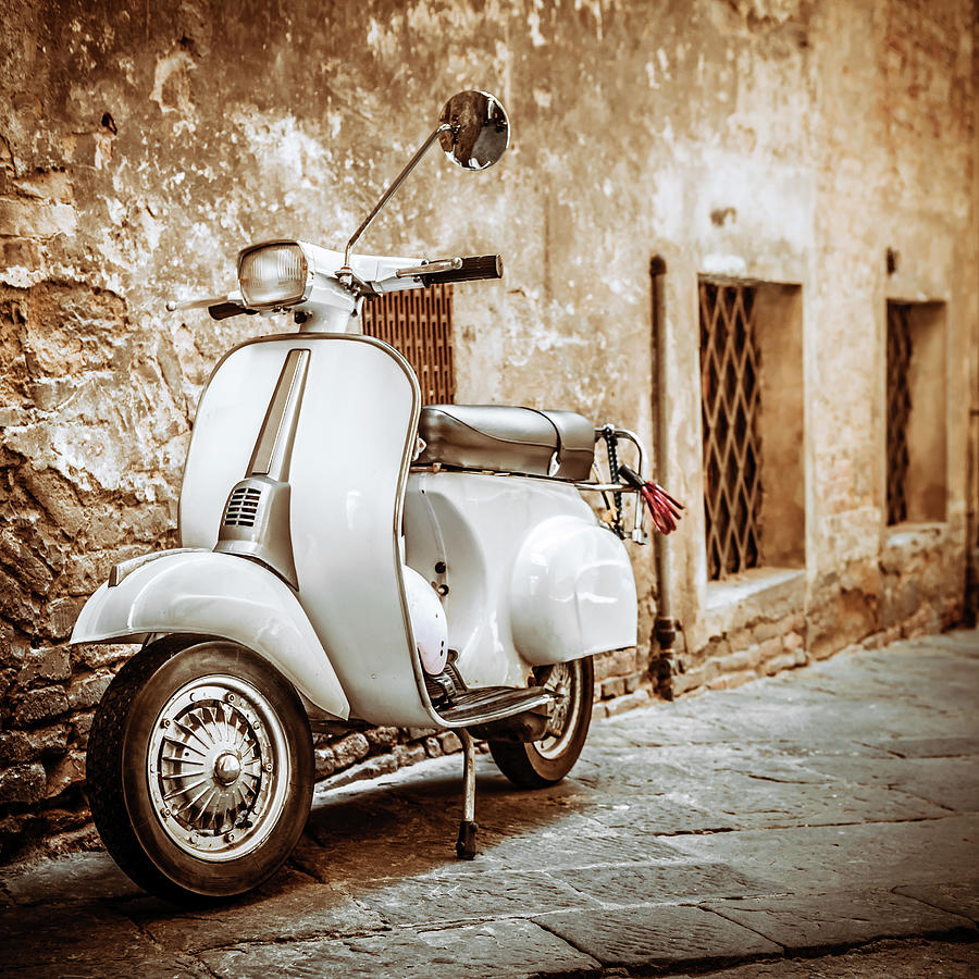 Italian Scooter In Grungy Alley Photograph by Giorgiomagini