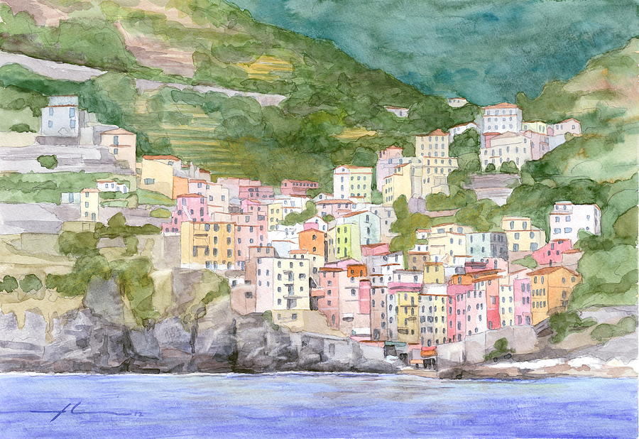 Italian Seaside Village Watercolor Painting Drawing by Mike Theuer
