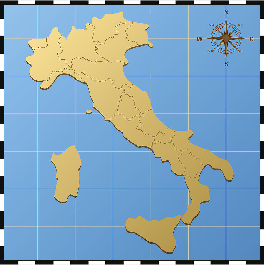 Italy Map With Compass Rose by Iconeer