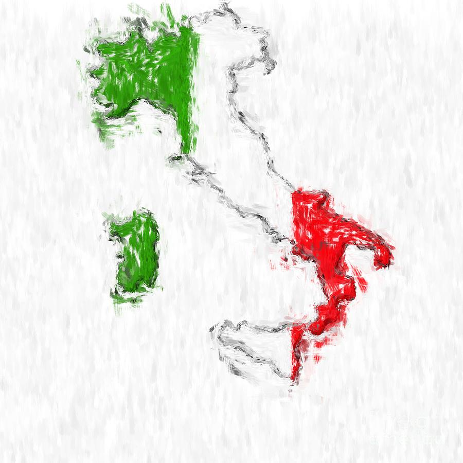 Italy Photograph - Italy Painted Flag Map by Antony McAulay