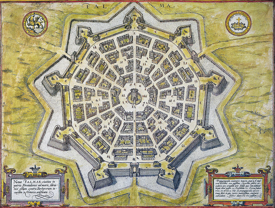 Italy Palmanova Map 1598 Photograph by Granger