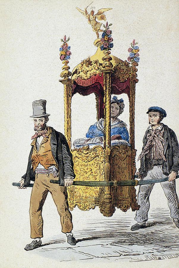 19th Century Painting - Italy Sedan Chair by Granger
