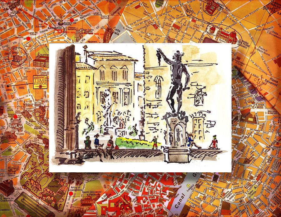 Italy Painting - Italy Sketches Florence Palazzo Vecchio Piazza  by Irina Sztukowski