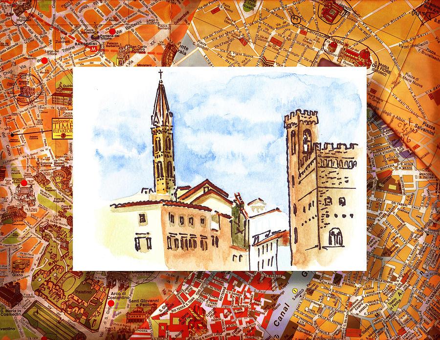 Italy Painting - Italy Sketches Florence Towers by Irina Sztukowski