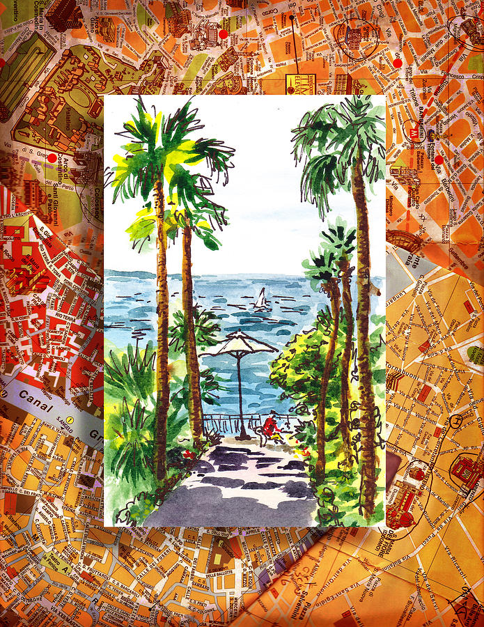 Italy Painting - Italy Sketches Palm Trees Of Sorrento by Irina Sztukowski