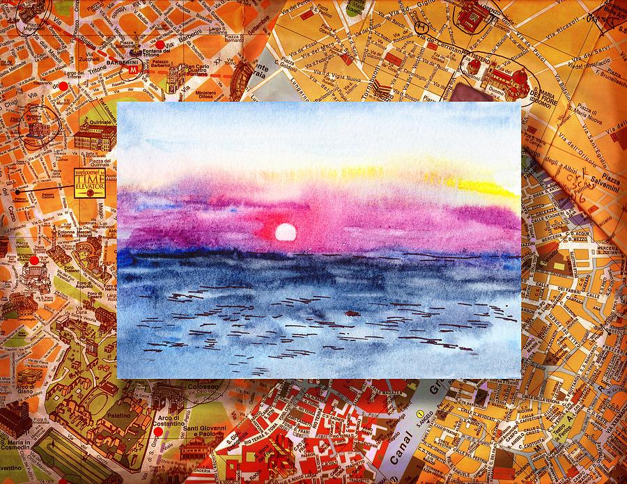 Italy Painting - Italy Sketches Sorrento Sunset by Irina Sztukowski