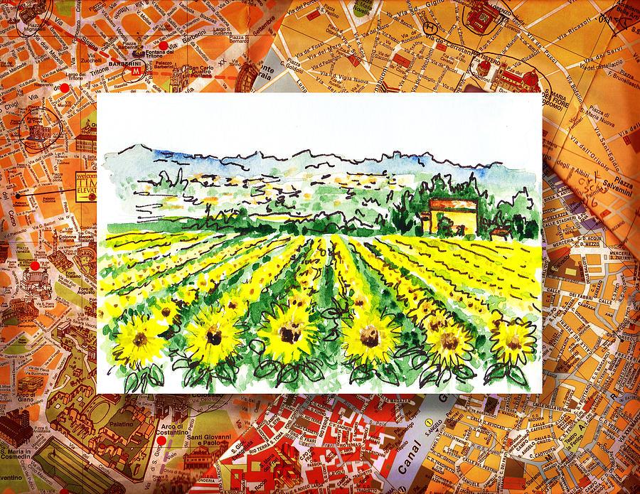 Italy Painting - Italy Sketches Sunflowers Of Tuscany by Irina Sztukowski