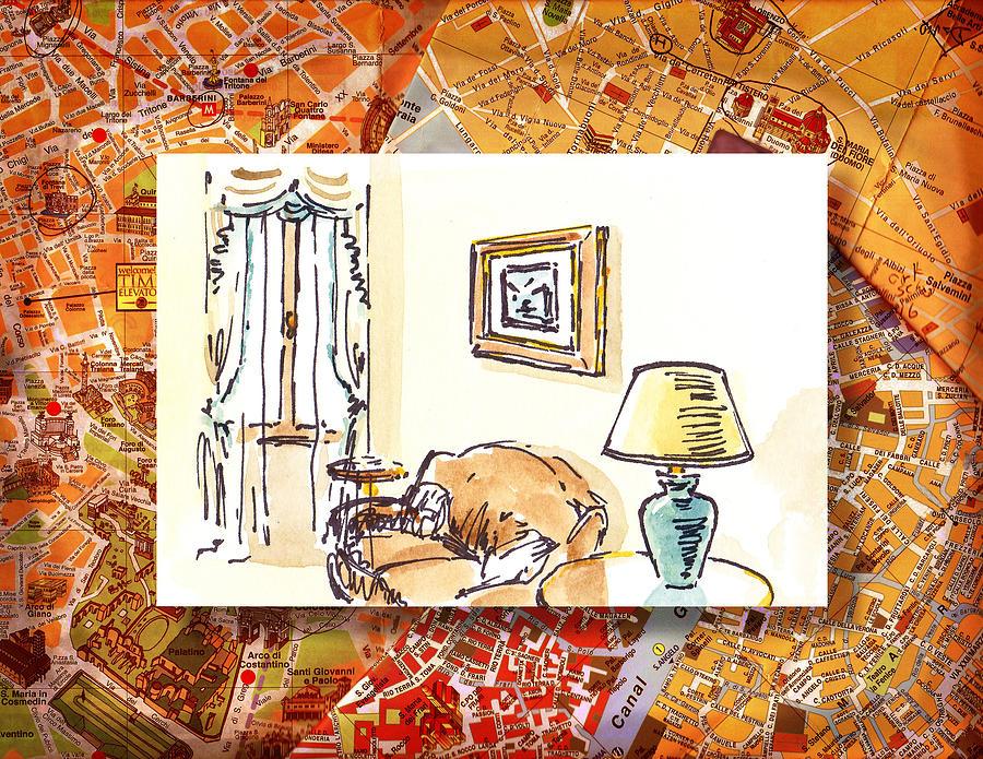 Italy Painting - Italy Sketches Venice Hotel by Irina Sztukowski