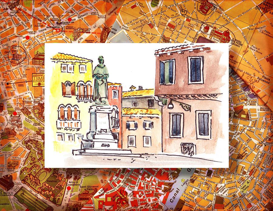 Italy Painting - Italy Sketches Venice Piazza by Irina Sztukowski