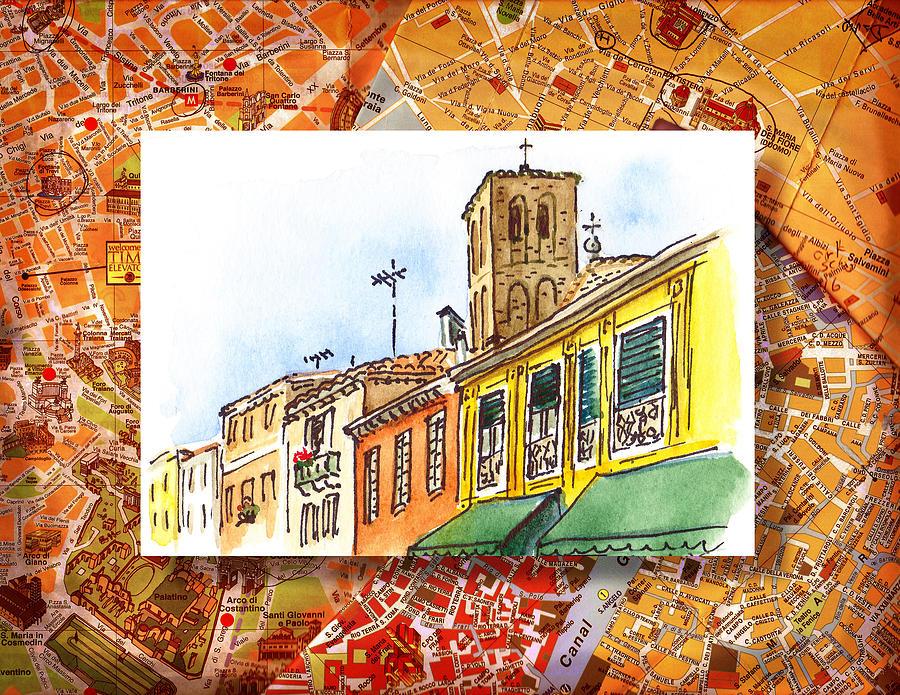 Italy Painting - Italy Sketches Venice Via Nuova by Irina Sztukowski