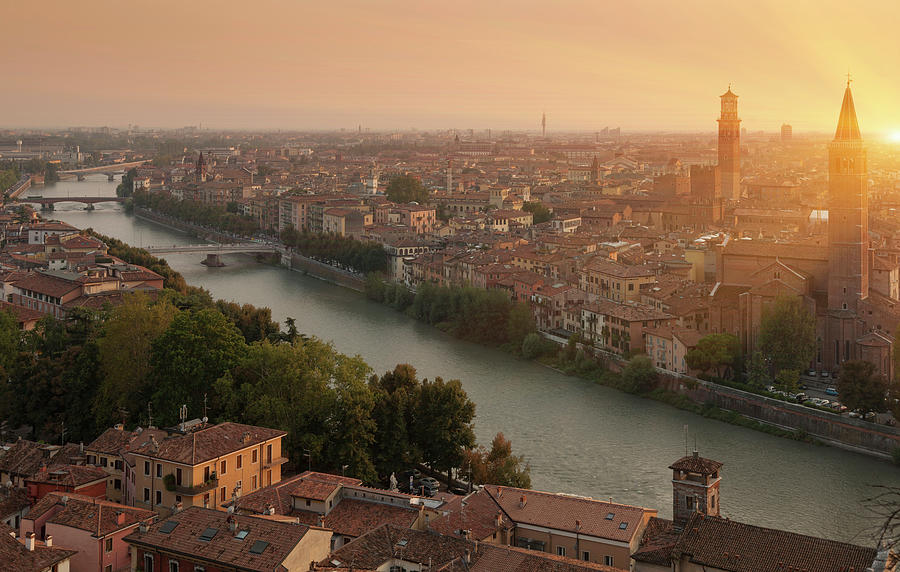 Italy, Veneto, Verona And Adige River Photograph by Buena Vista Images