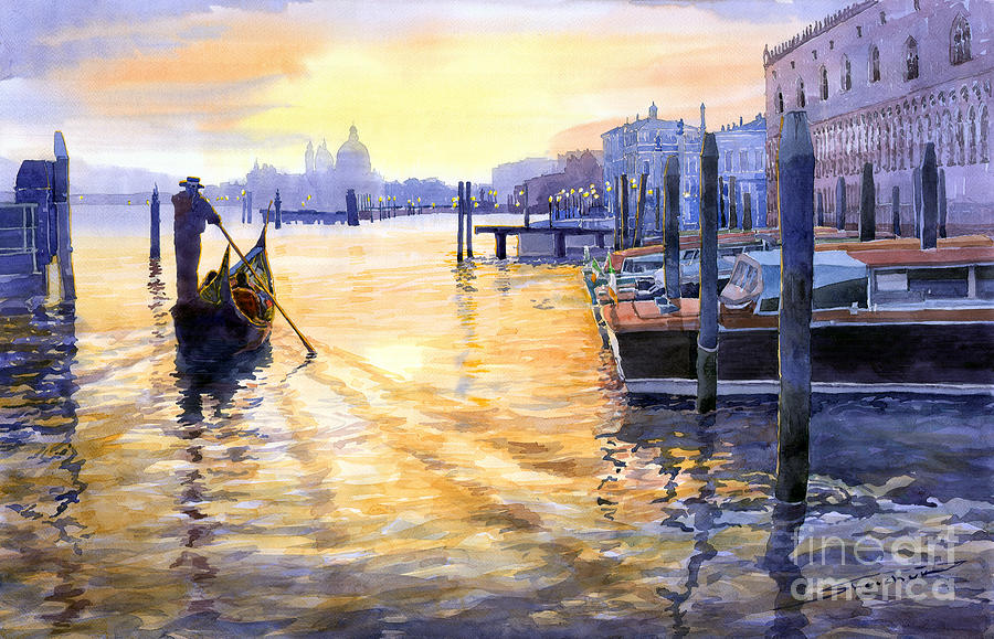 Watercolor Painting - Italy Venice Dawning by Yuriy Shevchuk