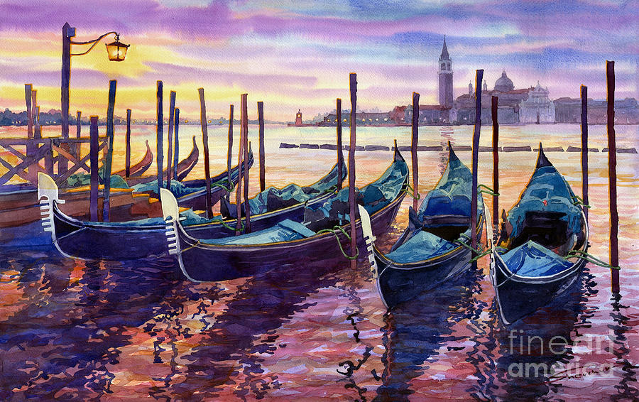 Watercolor Painting - Italy Venice Early Mornings by Yuriy Shevchuk