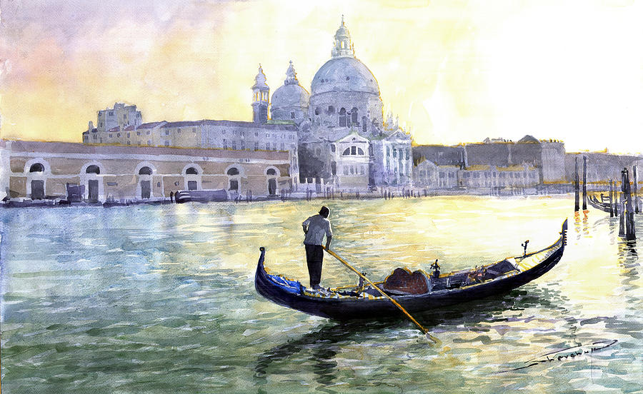 Watercolor Painting - Italy Venice Morning by Yuriy Shevchuk
