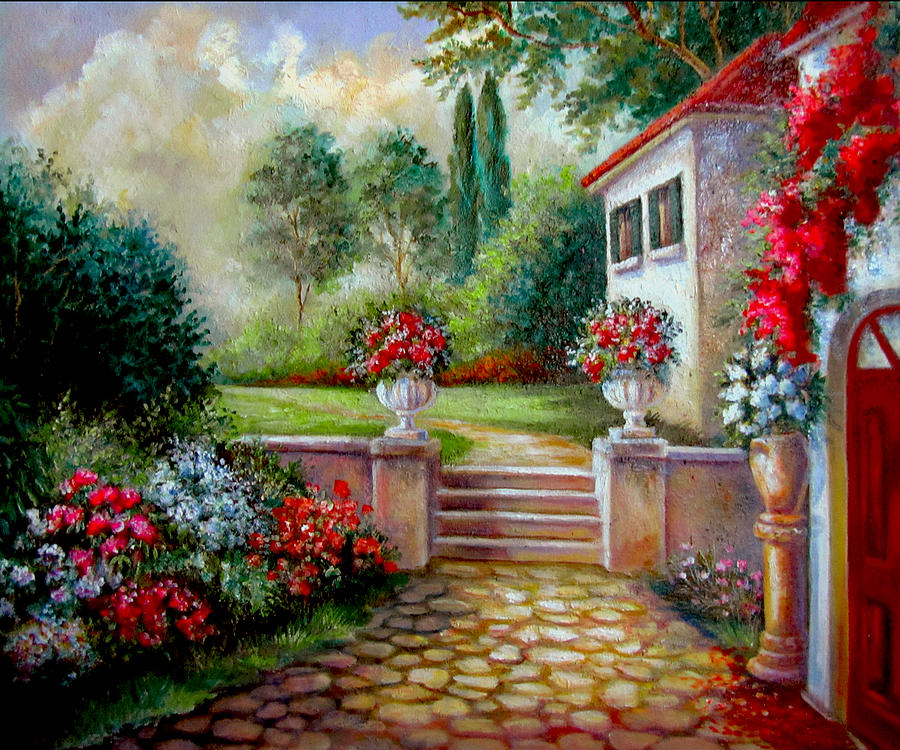 Italyan villa with garden painting by regina femrite for Garden painting images