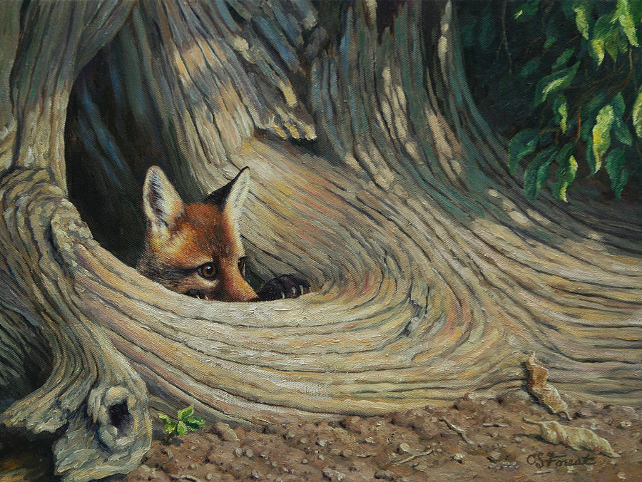 Dog Painting - Fox - Its A Big World Out There by Crista Forest
