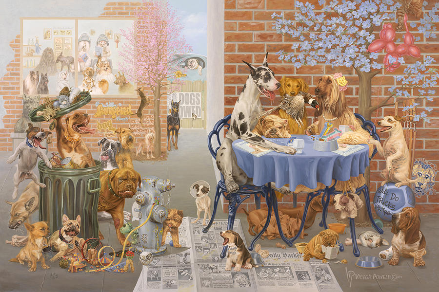 Dog Painting - Its A Dogs World by Victor Powell