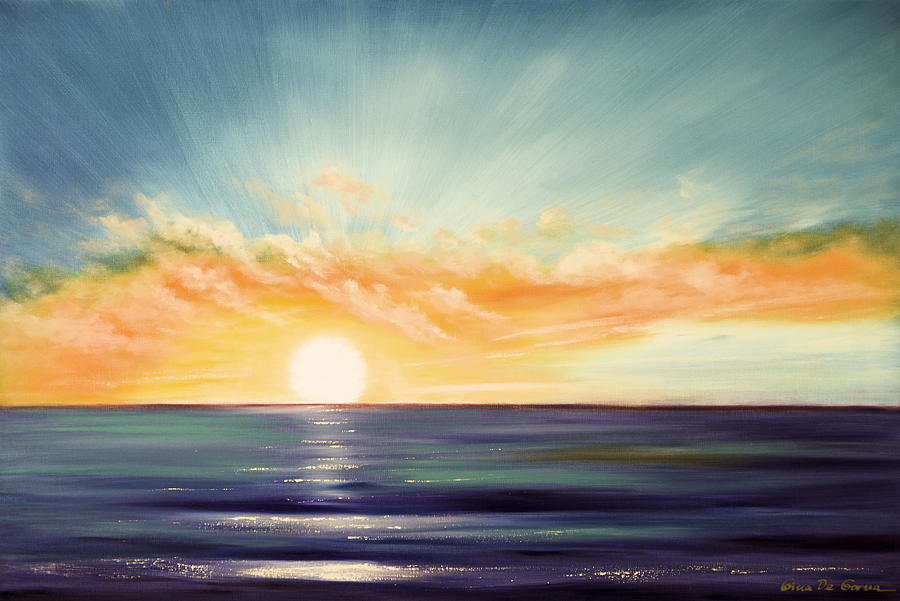 Sunset Painting - Its A New Beginning Somewhere Else by Gina De Gorna