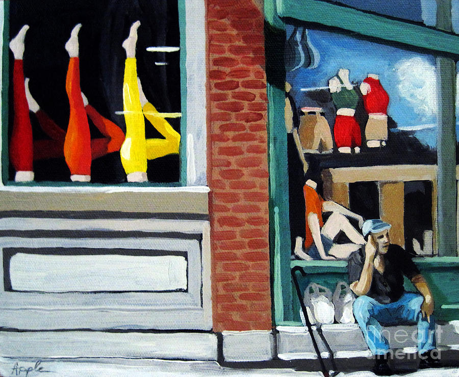 Man Painting - Its All About The Legs - Figurative City Urban Oil Painting by Linda Apple