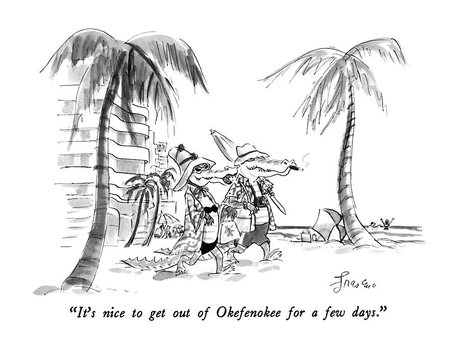 Its Nice To Get Out Of Okefenokee For A Few Days Drawing by Edward Frascino
