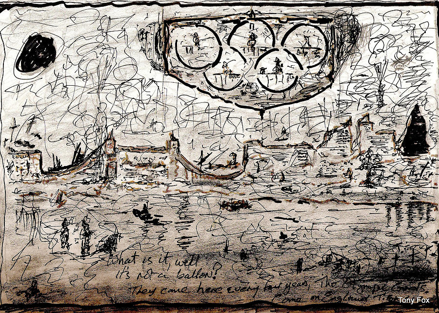 Olympic Drawing - Its Raining In London. by Anthony Fox