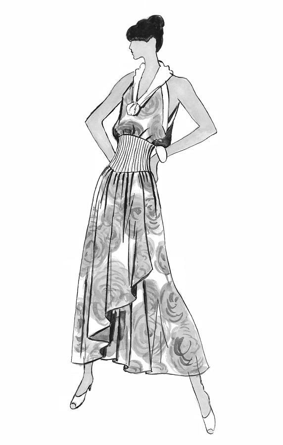 Fashion Illustration Drawing - Its Sarong Its Right by Sarah Parks
