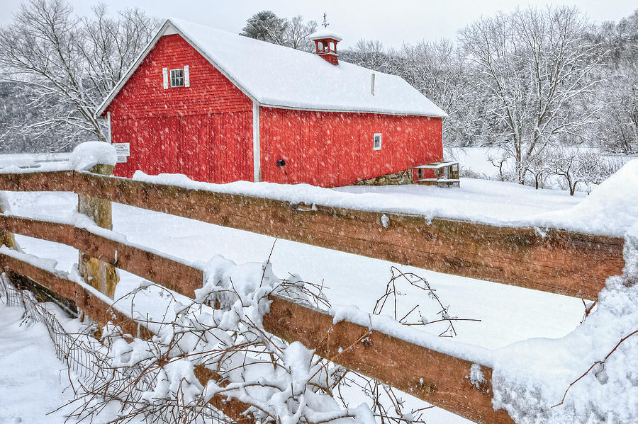 Old Red Barn Photograph - Its Snowing by Bill Wakeley
