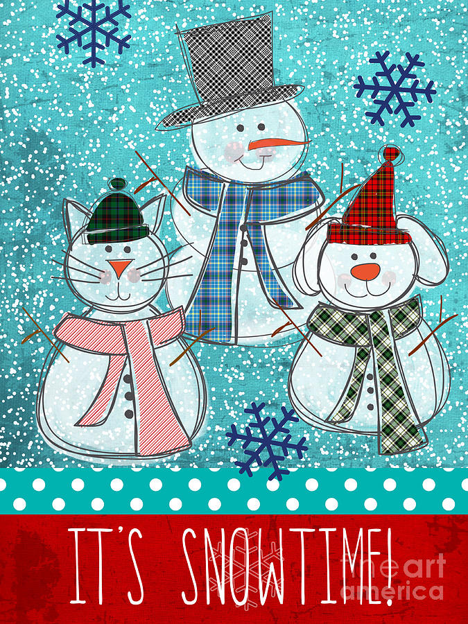 Snowman Painting - Its Snowtime by Linda Woods