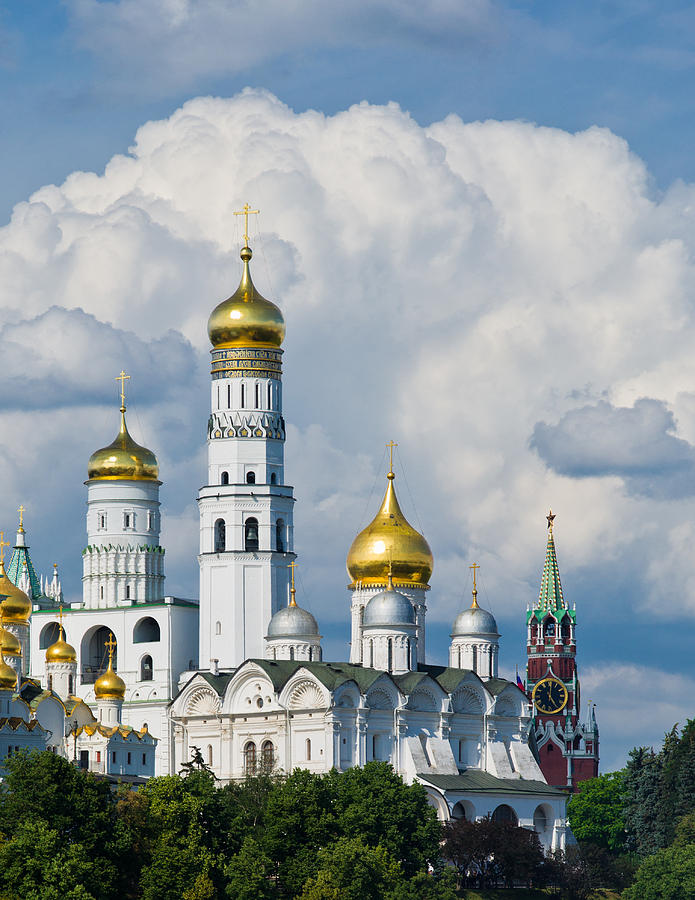 Ancient Photograph - Ivan The Great Bell Tower Of Moscow Kremlin - Featured 3 by Alexander Senin