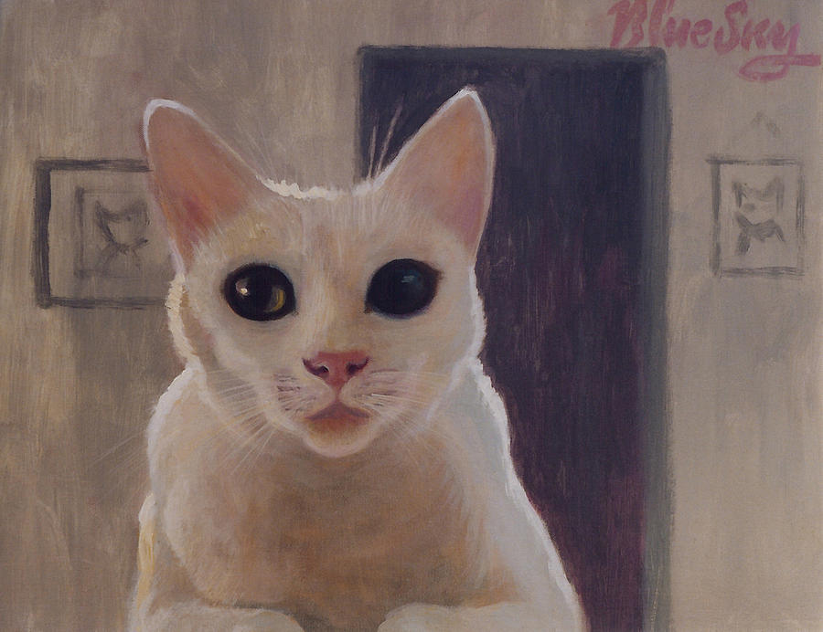 Cat Painting - Ivory by Blue Sky