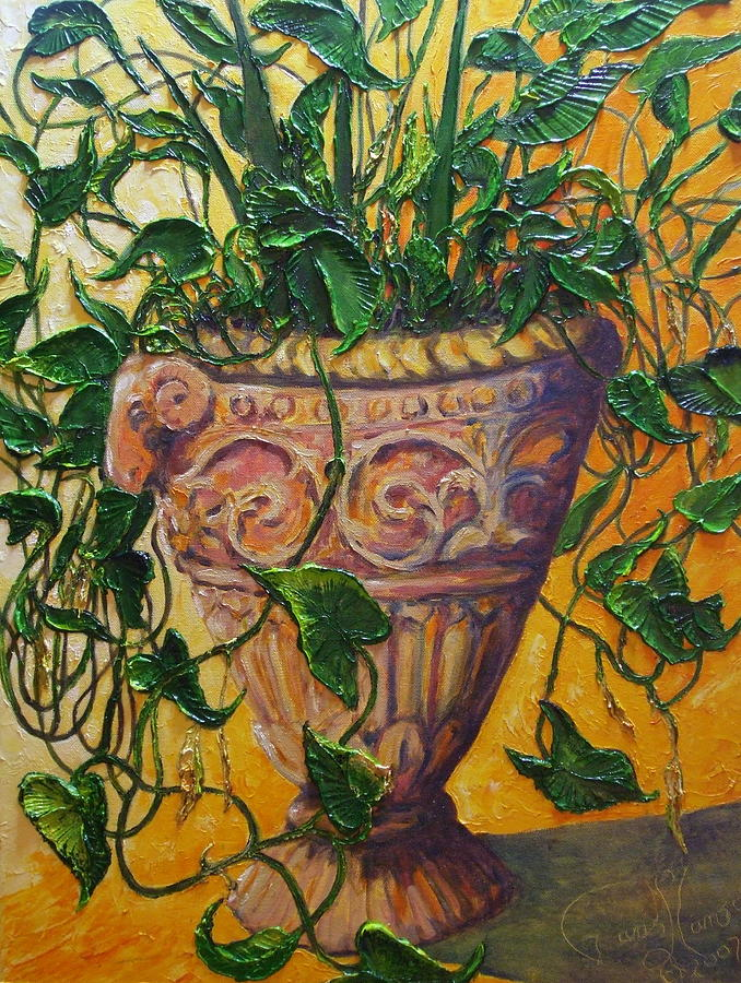 Oil On Canvas Painting - Ivy And Other Greens by Paris Wyatt Llanso