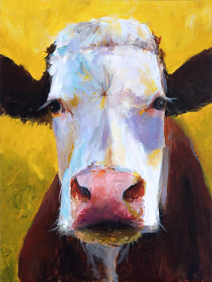 Cow Painting - Ivy II by Cari Humphry