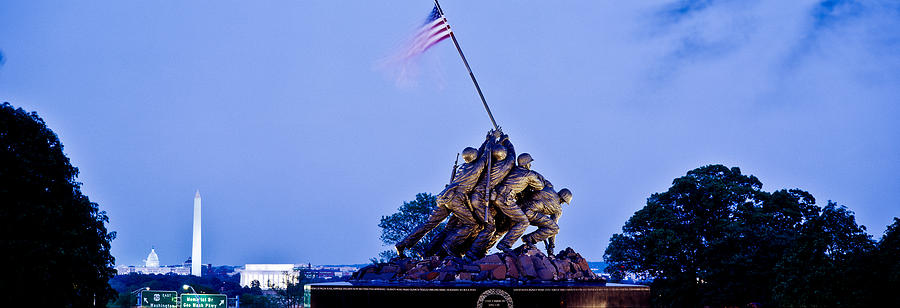 Color Image Photograph - Iwo Jima Memorial At Dusk by Panoramic Images